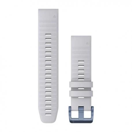 Silikonowy pasek QuickFit Fenix 6 Biały z niebieskim zapięciem 22mm