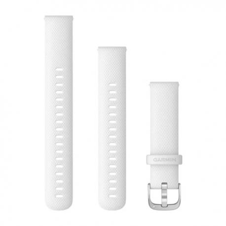 Pasek do Vivoactive 4s Vivomove 3s (18mm) Biały ze srebrnym zapięciem
