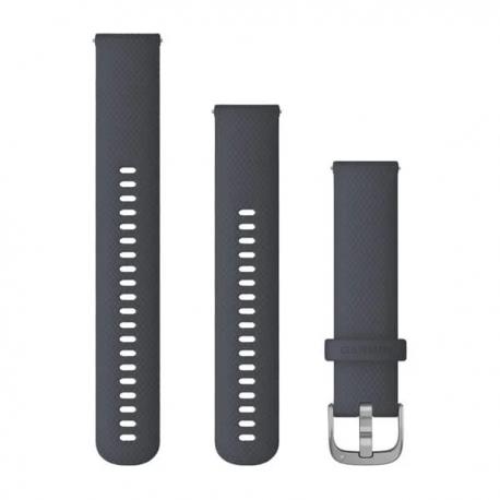 Pasek do Venu Sq/FR 245/645/Vivoactive3/Vivomove (20mm) Granatowy silikonowy ze srebrnym zapięciem