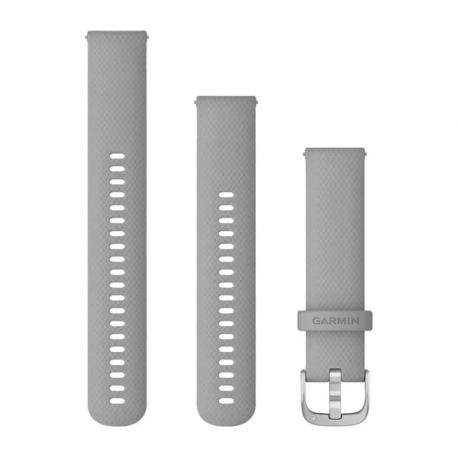 Pasek do Venu Sq/FR 245/645/Vivoactive3/Vivomove (20mm) Jasnoszary silikonowy ze srebrnym zapięciem