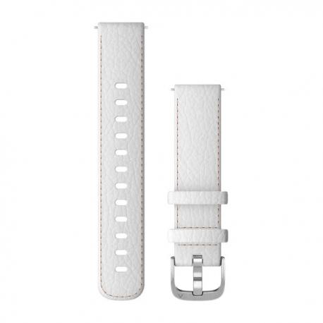Pasek do Vivoactive 4s Vivomove 3s (18mm) Biały skórzany ze srebrnym zapięciem
