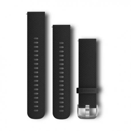 Pasek umożliwiający łatwe zdejmowanie (20mm) Czarny silikonowy pasek z zapięciem ze stali nierdzewnej
