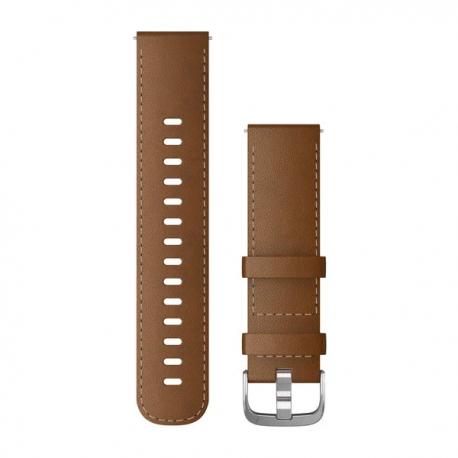 Pasek do Vivoactive 4 Venu 2 (22mm) Brązowy skórzany ze srebrnym zapięciem