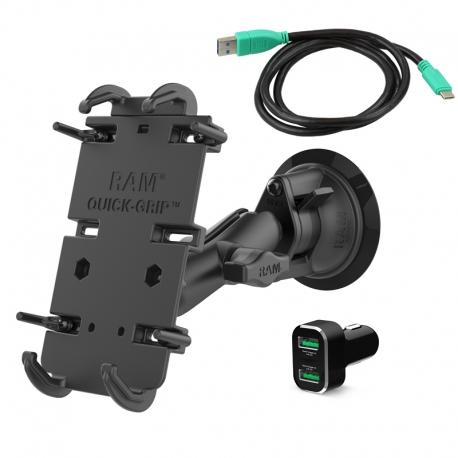 RAM Mounts Uchwyt Quick-Grip™ XL z przyssawką RAM® Twist-Lock™, Type-C Vehicle Bundle