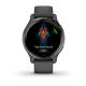 Zegarek Garmin Venu 2s Popielata ramka ze stali nierdzewnej z grafitową kopertą i silikonowym paskiem