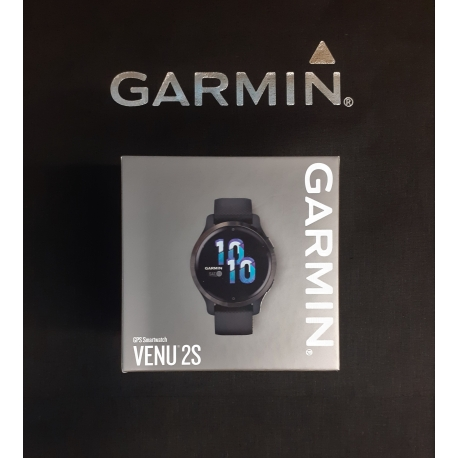 Garmin Venu 2s Popielata ramka ze stali nierdzewnej z grafitową kopertą i silikonowym paskiem