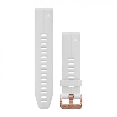 Silikonowy pasek QuickFit Fenix 5s Biały z różowo-złotym zapięciem 20mm