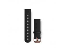 Pasek do Forerunner 245/645/Vivoactive/Vivomove (20mm) Czarny silikonowy pasek z zapięciem w kolorze różowego złota