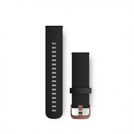 Pasek umożliwiający łatwe zdejmowanie (20mm) Czarny silikonowy pasek z zapięciem w kolorze różowego złota