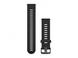 Pasek do Forerunner 245/645/Vivoactive/Vivomove (20mm) Czarny z popielatym zapięciem