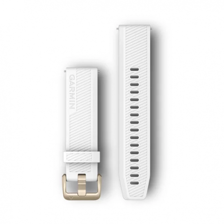 Pasek do Forerunner 245/645/Vivoactive/Vivomove (20mm) Biały z jasnożółtym zapięciem