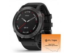 Fenix 6 Sapphire Carbon Gray DLC z czarnym paskiem z PL TOPO 2020.4