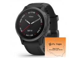 Fenix 6S Sapphire Carbon Gray DLC z czarnym paskiem z PL TOPO 2020.1