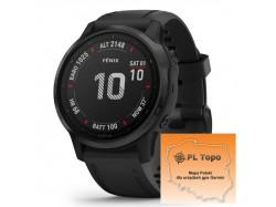 Fenix 6S Pro Czarny z czarnym paskiem z PL TOPO 2020.4