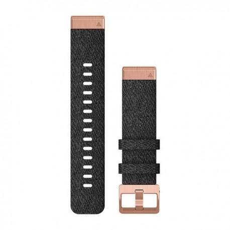 Zamszowy pasek QuickFit Fenix 6s nylonowy fioletowo-czarny z różowo-złotym zapięciem 20mm