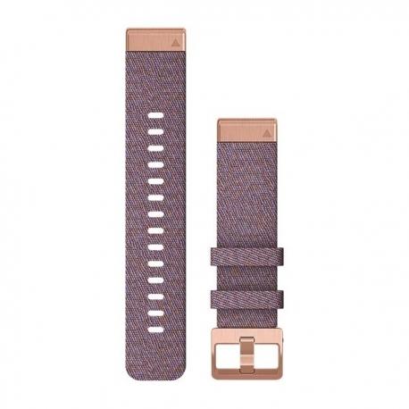 Zamszowy pasek QuickFit Fenix 6s nylonowy fioletowo-czarny z czarnym zapięciem 20mm